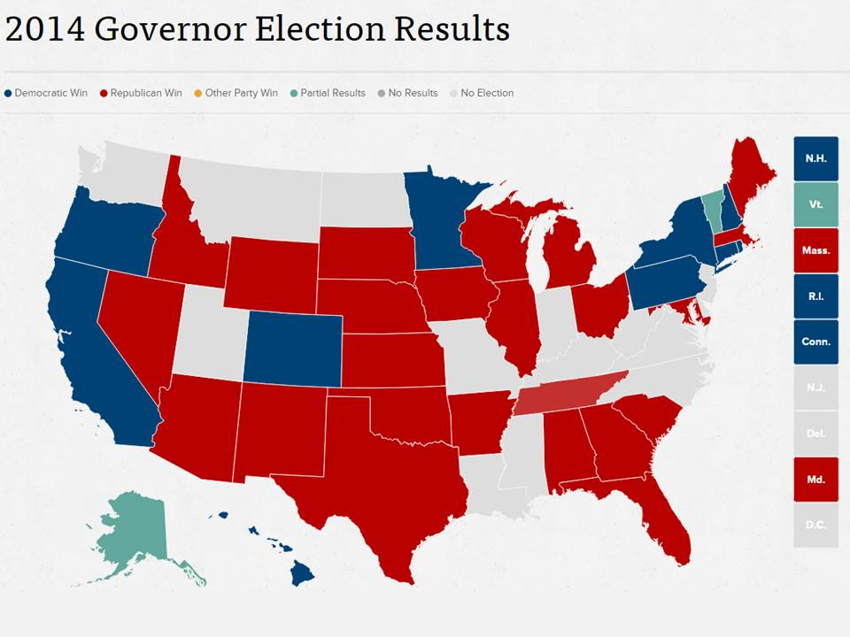 2014 Governor Election Results, from www.politico.com