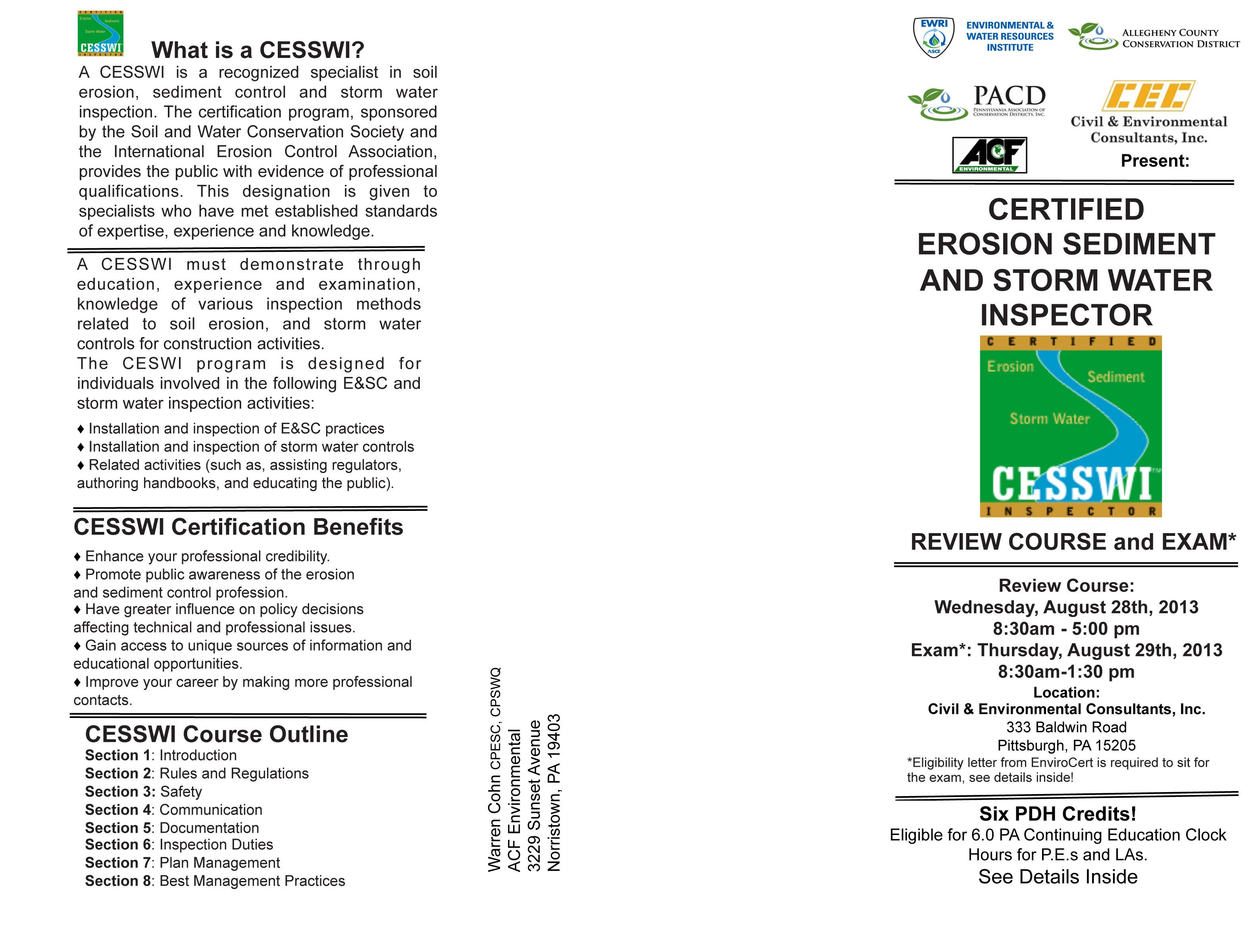 Asce pittsburgh section storm water certification courses click image for pdf brochure 1betcityfo Images