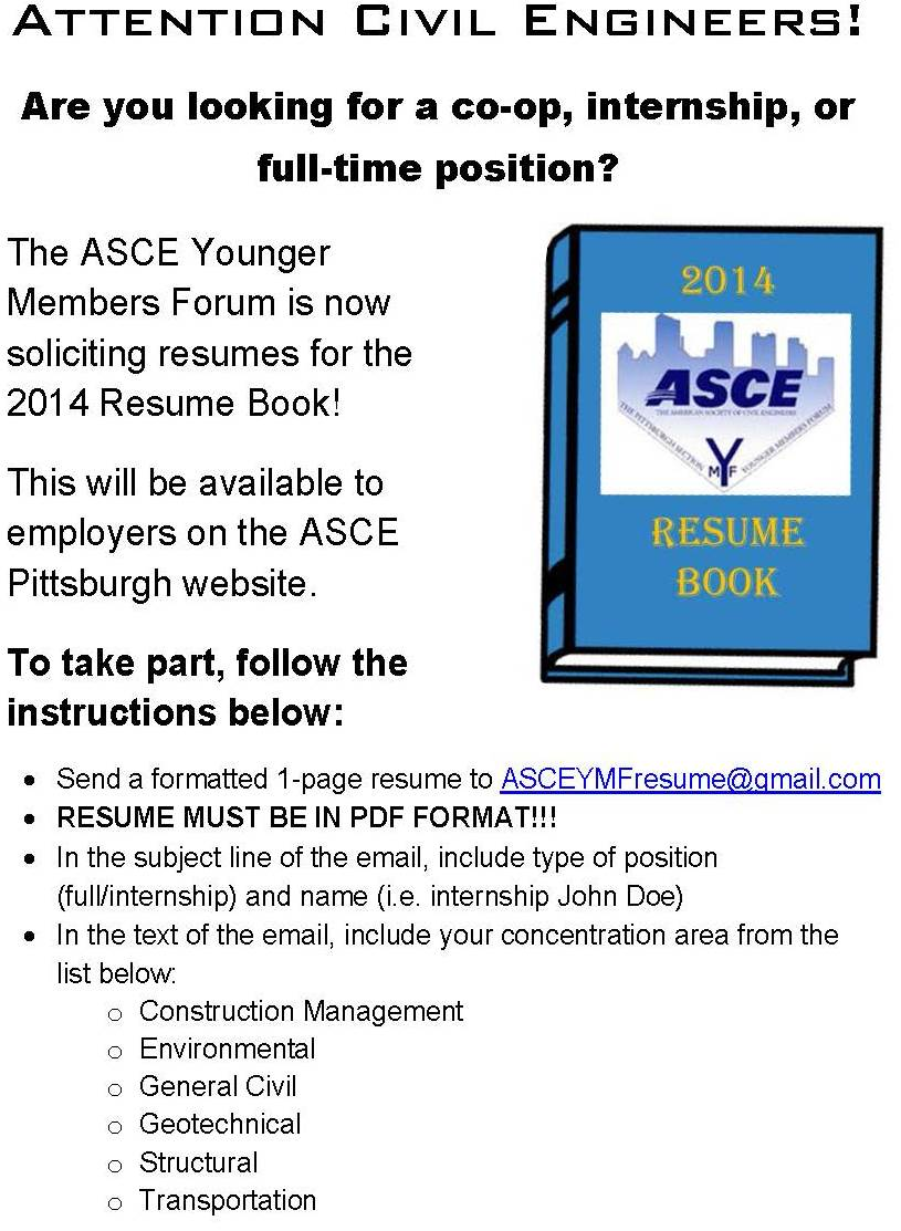 asce pittsburgh section resume book