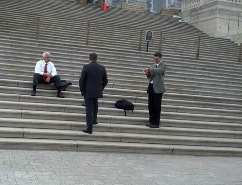 PA Fly-in participants take a break on the Capitol steps before their next meeting.