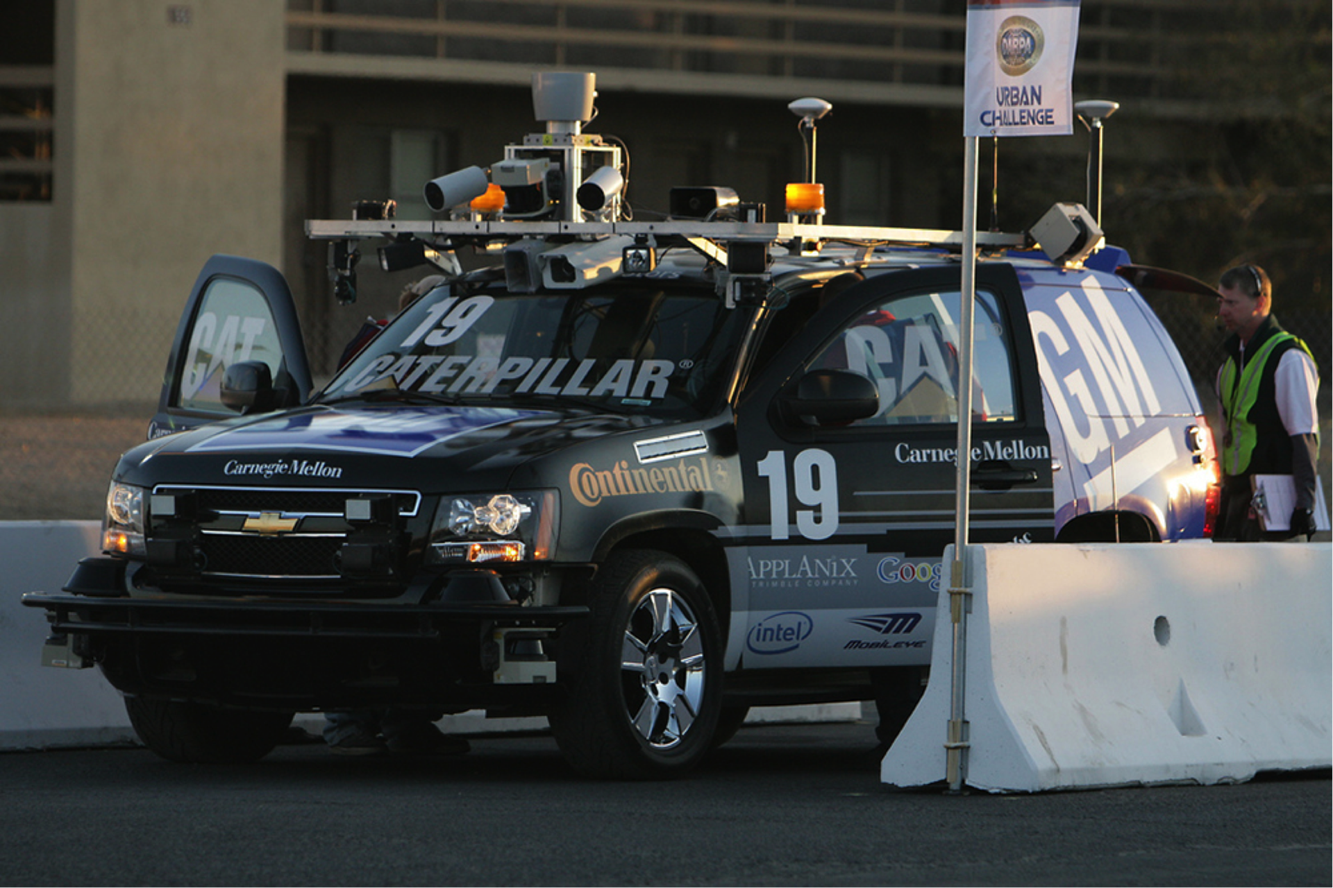 Photo by Ken Conley, flickr. A Chevy Tahoe, with autonomous capabilities added by Carnegie Mellon University researchers, navigated a 55-mile urban course in a 2007 competition in California. The vehicle has more than a dozen sensors and averaged a speed of 14 mph during the challenge.