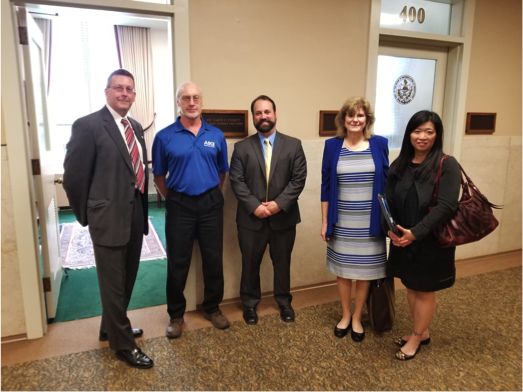 One of the PA ASCE Legislative teams before a meeting with an elected official. (L to R, Greg Scott Pittsburgh; Dion Campbell and David Wieller, Lehigh Valley; Kerry Henneberger, Central PA; and Edwina Lam, Philadelphia)